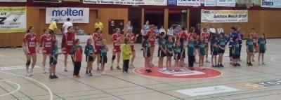 Einlaufen der weibl. E-Jugend mit der HSG Bensheim/Auerbach